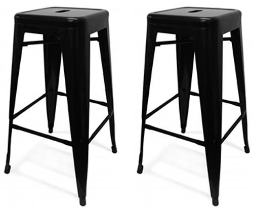 Set of 2 Oslo Bar Stools Black