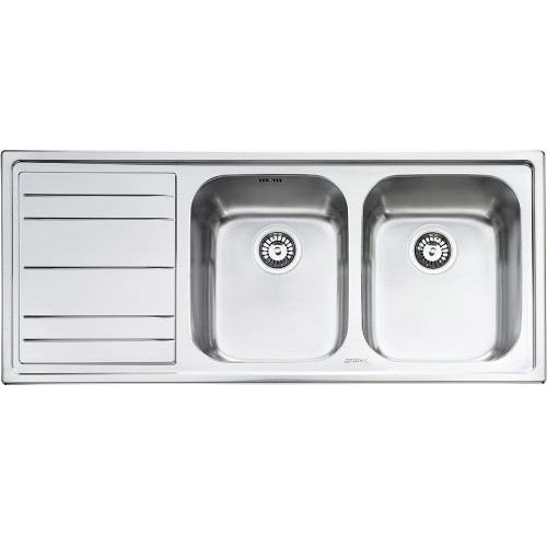 Smeg LE116 Rigae Double Bowl Kitchen Sink With Drainer