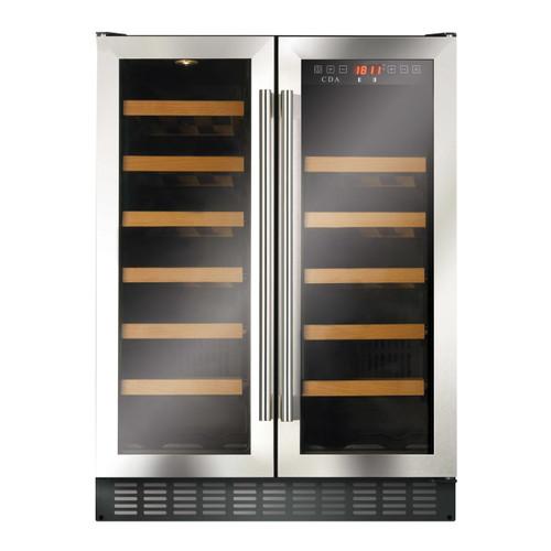 Stainless Steel/Black Double Door 60cm Matrix Wine Cooler