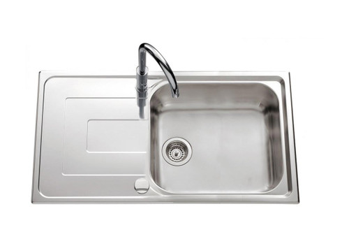 Luisina Debussy Large Bowl Kitchen Sink With Added Drainer - Satin Stainless Steel
