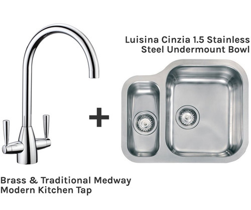 Brass & Traditional Medway Tap + Luisina Cinzia 1.5 Undermount Sink Package