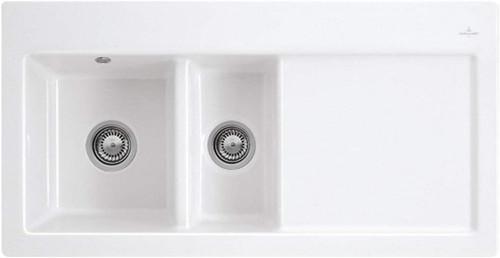 Villeroy & Boch Subway 60 XR White Kitchen Sink w/ Right Hand Drainer