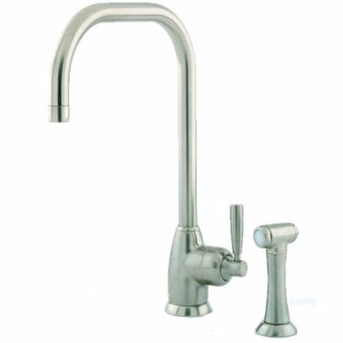 Perrin & Rowe Mimas - U Spout 4848 (with Rinse) Kitchen Tap Pewter