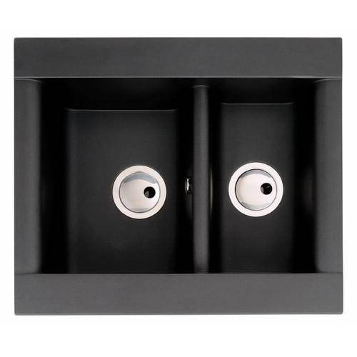 Abode Aspekt Reversible 1.5 Bowl in Black Metallic Granite Sink