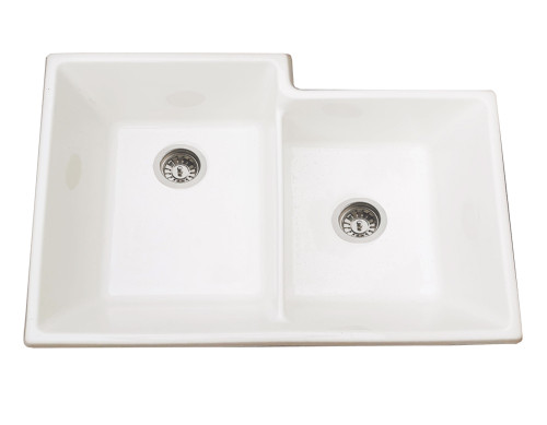 Brass & Traditional Sinks Onyx One and Half Bowl Ceramic Kitchen Sink