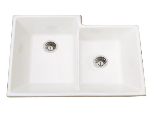 Brass & Traditional Sinks Onyx One and Half Bowl Ceramic Kitchen Sink