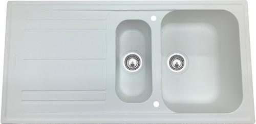 Luisina FUN 1.5 Bowl Granite Kitchen Sink & Free Waste - White Alpina