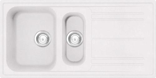 Luisina FUN 1.5 Bowl Granite Kitchen Sink & Free Waste - White