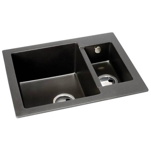 Abode Zero 1.5 Bowl Black Metallic Granite Inset Sink