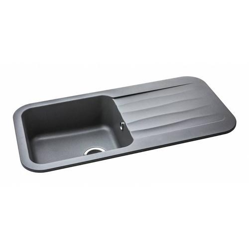 Abode Dune 1.0 Bowl & Drainer Kitchen Composite Metallic Grey Sink