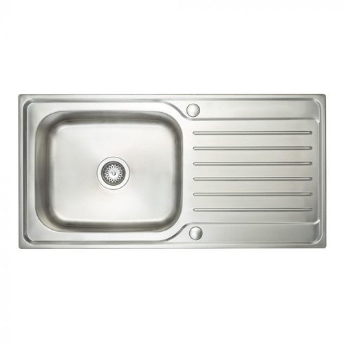 Ex Display Brass & Traditional Echo Stainless Steel Single Bowl Sink With Reversible Drainer