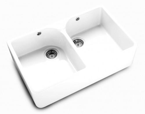 Villeroy & Boch Farmhouse Double Bowl 80 White Ceramic Kitchen Sink