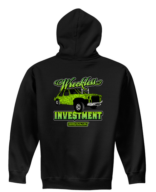 Wreckless Investment Kids Hoodie-Black w/Green - CLEARANCE
