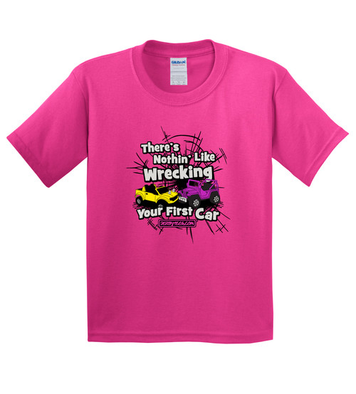 Wrecking Your First Car Creeper/Tee-Pink - CLEARANCE