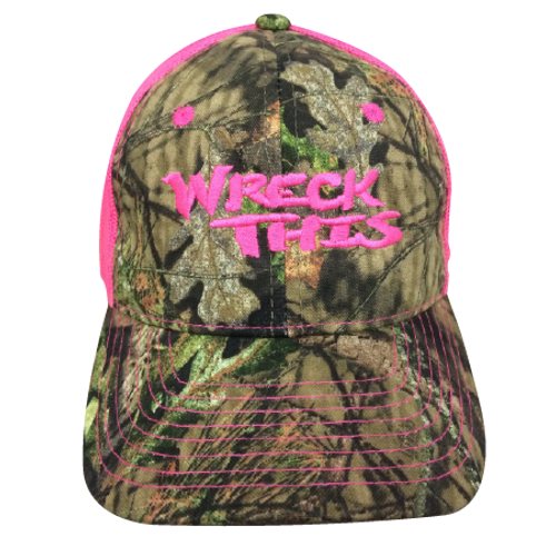 WRECK THIS CAMO WITH NEON PINK MESH HAT
