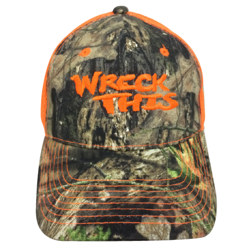 WRECK THIS CAMO WITH NEON ORANGE MESH HAT