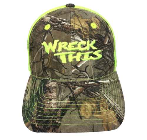 WRECK THIS CAMO WITH NEON YELLOW MESH HAT