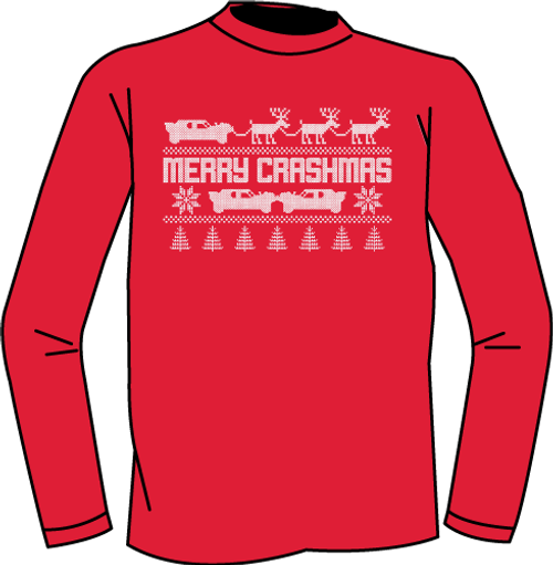 Merry Crashmas LS Tee-Red (Youth) - CLEARANCE
