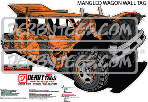 Mangled Wagon Premium Wall Tag