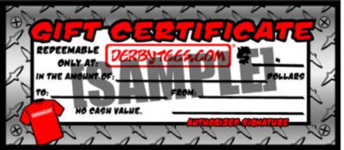 DERBYTEES.COM GIFT CERTIFICATE