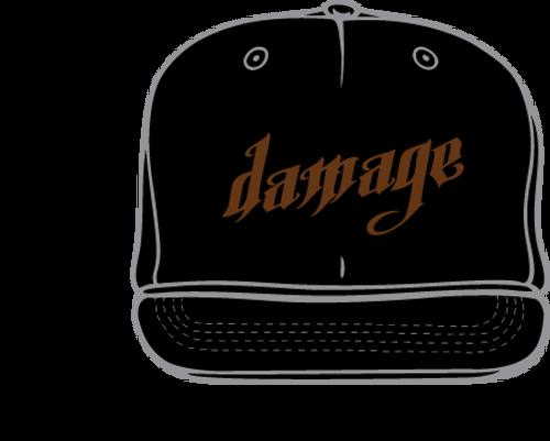 DAMAGE BLACK FLATBILL FLEXFIT HAT