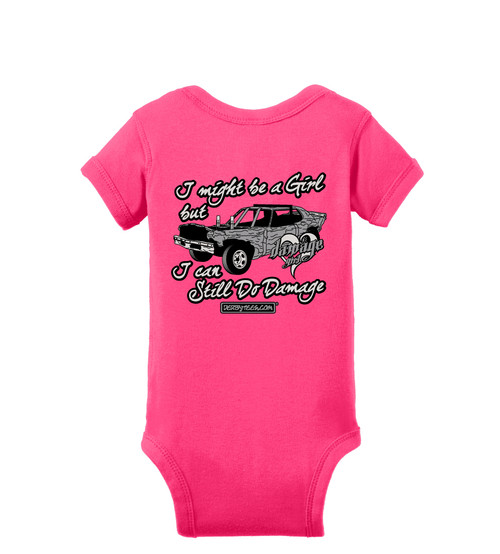 Little Girls Do Damage Tee or Creeper (Pink) - CLEARANCE