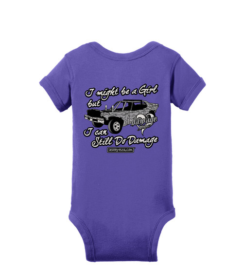 Little Girls Do Damage Tee or Creeper (Purple) - CLEARANCE