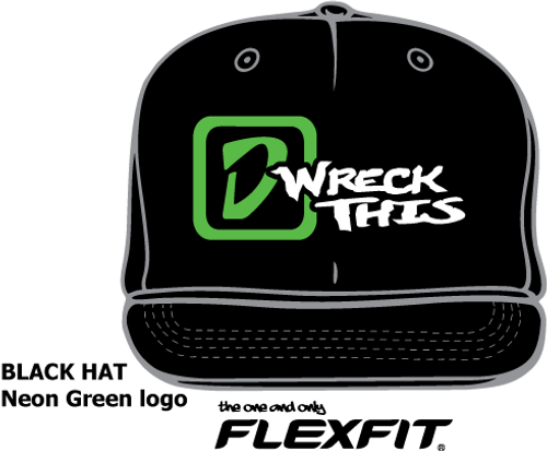 'D'LOGO WRECK THIS BLACK FLATBILL HAT
