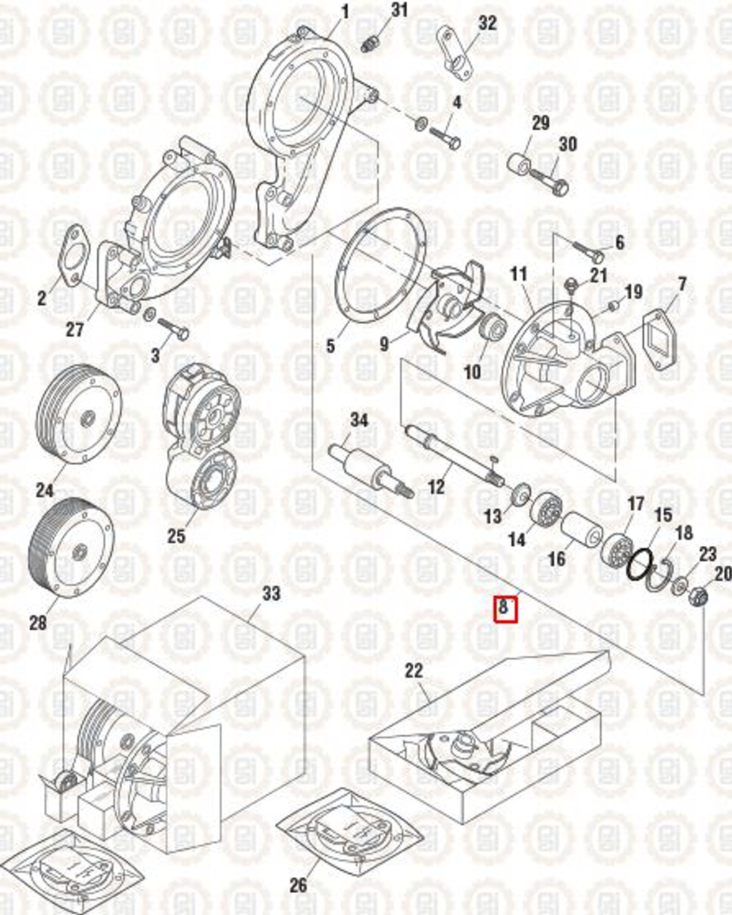 PAI Industries Water Pump Assembly For Mack PAI3367