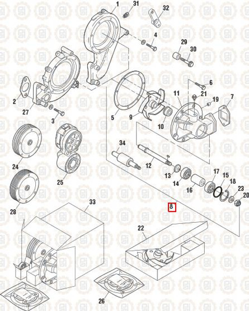 PAI Industries Water Pump Assembly for Mack: PAI3367