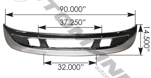 Bumper Chrome W/ Small Tow Hook Hole  For International: 564.55021C