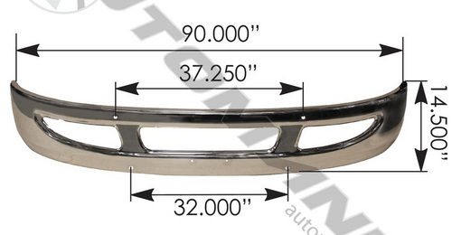 Bumper Chrome W/ Large Tow Hook Hole  For International: 564.55012C