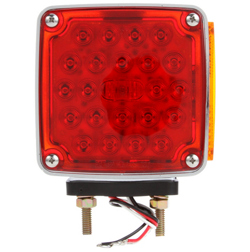 Truck-Lite LED Red/Yellow Square 24 Diode RH Side Marker 2 Stud Pedestal Light: 2758