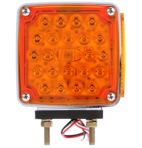 Truck-Lite LED Red/Yellow Square 24 Diode LH Side Marker 2 Stud Pedestal Light: 2759