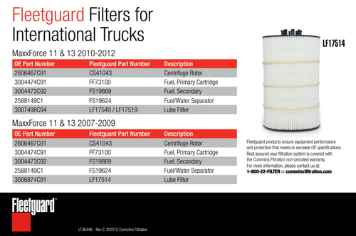 FleetGuard Lube Filter 2007-2009 International Navistar MaxxForce 11 & 13 Engines #LF17514