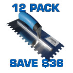 "3/4"" U Notch Stainless Steel Trowel - 12 Pack"