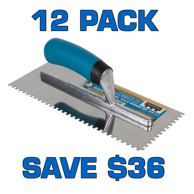 """11/64"""" Square Notch Stainless Steel Trowel - 12 Pack"""