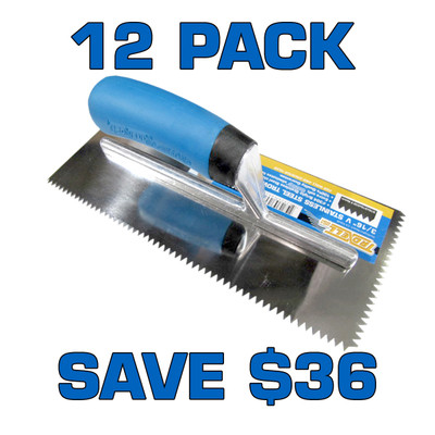"""3/16"""" V Notch Stainless Steel Trowel - 12 Pack"""
