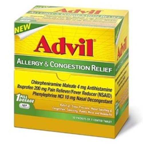 Advil Sinus Congestion and Pain 25ct. Only 1 coated tablet needed to relieve sinus congestion discomfort.