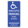 Connecticut Handicap Parking Permit Required Sign