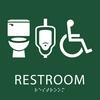 Green unisex restroom sign