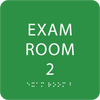 Bright Green ADA Exam Room 2 Sign with Braille