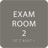 Dark Grey ADA Exam Room 2 Sign with Braille