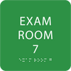 Light Green Exam Room 7 Sign w/ ADA Braille