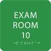 Light Green Exam Room 10 Sign w/ ADA Braille