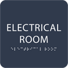 Navy Tactile Electrical Room Sign
