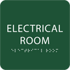 Green Tactile Electrical Room Sign