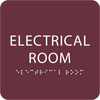 Burgundy Tactile Electrical Room Sign