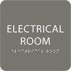 Dark Grey Tactile Electrical Room Sign