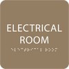 Light Brown Tactile Electrical Room Sign
